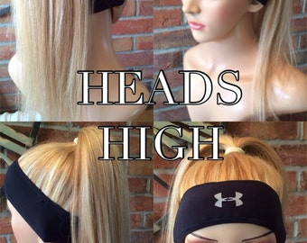 Extra Thick Option For Full Coverage) Headband with hair for running/exercising, available in wavy or straight human hair.