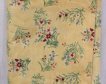 Vintage Patt Fleur Fabric Mustard Colored Corduroy with Small Red and Blue Flower Sprays