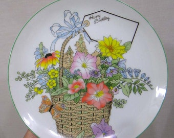 Vintage Shafford Personalized Cake Plate Happy Birthday Flower Basket