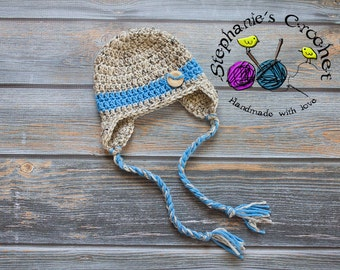 Crochet Newborn baby boy hat photography prop infant baby hat photo prop crochet baby hat- Made to order