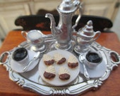 Dollhouse Miniatures - Large Oval Tray with Coffee Set for 2 - Chocolate Dipped Cookies on Tray - Great for Coffee Shop, Tea Room, etc.