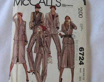 McCalls Womens Sewing Pattern 6724 Size 12