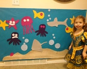 HUGE Felt Ocean Wall Decoration. Kids create their own scene! Toddler Gift Activity / Craftivity. 35 Pieces. Buy a craft, feed a baby.