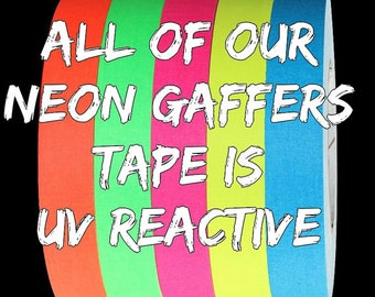 "UV Reactive 1/2"" Gaffers Hula Hoop Grip Tape - All UV Neons to Choose From Glow with UV Light"