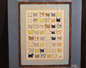 Needle Treasures I Love Cats Counted Cross Stitch 04640