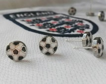 Miniature Football Studs 8X8mm Round Sterling Silver Posts/Euro 2016/Football Studs/Soccer Jewelry/Soccer Earrings/Sport/Tom Boy Jewelry