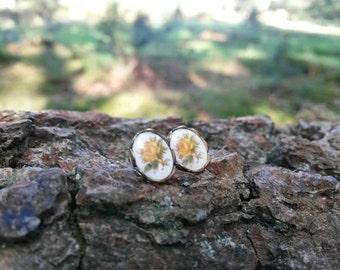 Miniature yellow rosebud stud earrings 8X6mm oval / girly earrings / cute studs / floral stud earrings / everyday jewellery (1 pair)