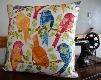 18x18 Pillow Cover Graphic Birds Ikat Back Design Cream Blue Green Red Yellow Orange