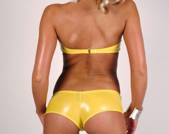 High gloss yellow short shorts and matching top