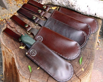Hand-made Brown Leather Sheath & Dangler For Bahco Laplander 396 / Silky 170 and Accel 210 or similar.