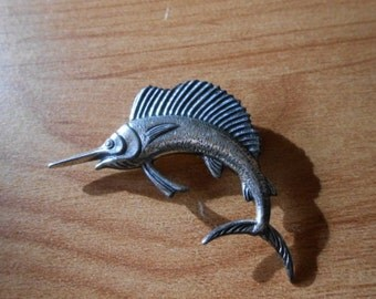Vintage Sterling Silver Swordfish Pin Brooch Jewelry
