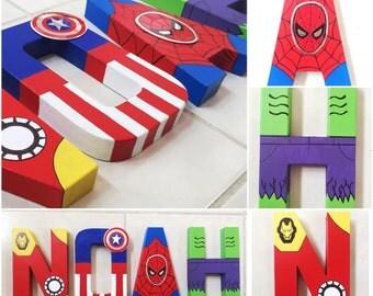 Hand painted superhero letters