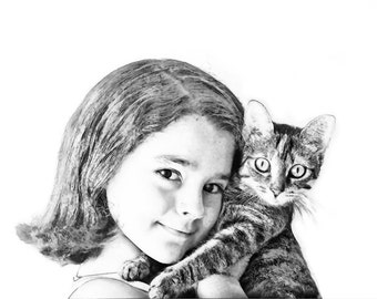 Custom Portrait - Sketch from Photo - Cat portrait - Family Portrait - Digital sketch - People and Pet Art - Girl and cat