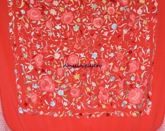 Hand embroidered spanish flamenco silk piano shawl, dancewear, mantones