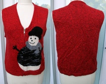 Susan Bristol Ugly Christmas Vest Sweater MEDIUM Cardigan Tacky Gaudy Hideous snowman