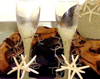Coastal Wedding Couples Toasting Flutes/Martini/Wine Glasses - Handcrafted and Custom