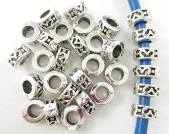 30pcs 4mm-Hole Round Loops Silver Plated Beads (F2056)