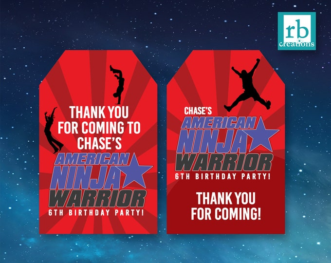 Ninja Warrior Party Favor Tags, Ninja Warrior Birthday, Ninja Warrior Printables, Favor Tags - Digital Printables