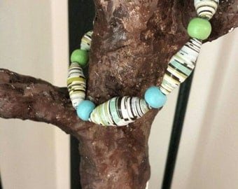 Paper and wood bead bracelet
