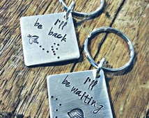 Sale! Set of two long distance relationship, hand stamped keychains. Deployment gift. out of town worker. keychain set, long distance love