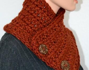 Crochet Fashion Neckwarmer in Burnt Orange