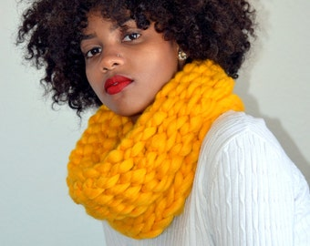 Yellow Crochet Snood/ Yellow Cowl/ Crochet Neck Warmer/ High Fashion Cowl/ Cowl Scarf/ Tunnel Cowl/ Tunnel Snood Scarf/ Gift for Her