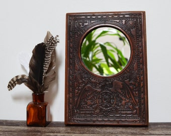 Gorgeous Handmade Tooled Leather on Wood Mirror