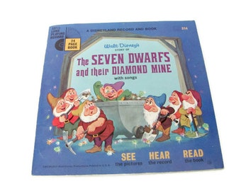 Vintage Disney Book, Record, 1960's Snow White and Seven Dwarfs Book and Record, Vintage Disneyland Record, Vintage Vinyl, Children's Record