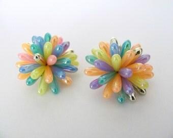 Vintage Pastel Earrings, 1960's Mod Beaded Earrings, Clip On Earrings, Pink, Confetti, Long Bead Earrings, 1960's Mod Earrings, Jewelry