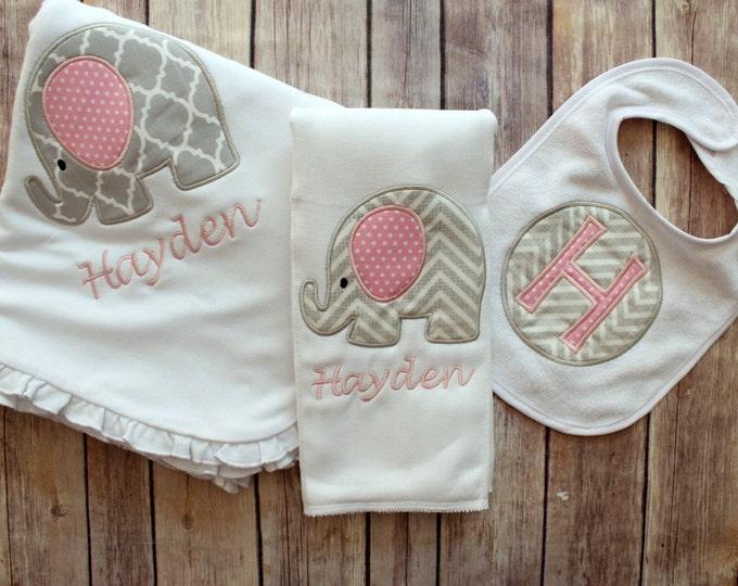 Monogrammed Baby Girl Blanket Burp Cloth Bib Set, Personalized Baby Gift Set, Monogrammed Baby Shower Gift, Personalized Elephant Blanket
