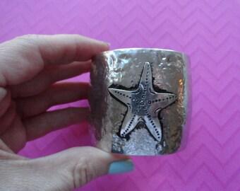 Starfish hammered metal thick  cuff   bracelet