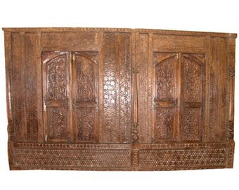 Mogulinterior 18c Indian Architectural Rare Rustic Antique Wall Panel Teak India Jaipur Haveli Architecture