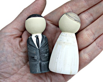Mini Bride and Groom Wedding Peg Doll Cake Toppers