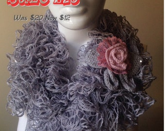 Crochet Ruffled Grey Scarf with Metallic Gold Infinity Scarf with Crochet Flowers, Neckwarmer, Fall Fashion Accessories