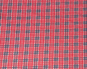 Vintage Retro Red White Blue Plaid Cotton Knit Fabric 63x90