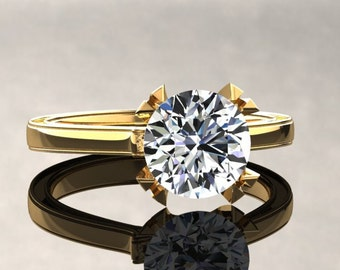 Moissanite Engagement Ring Moissanite Ring 14k or 18k Yellow Gold Matching Wedding Band Available W17MOISY