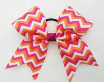 orange and pink cheer bow ponytail, cheerleading team bow, baton, dance, 2.25 inch ribbon, 7 inch bow, hot pink and orange chevron bow