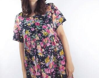 Vintage 90s Sheer Oversized Floral Print Babydoll Dress