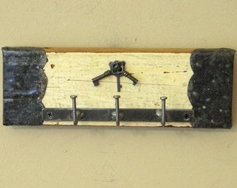Shabby Chic Wall Key Holder with Three Small Skeleton Keys - Key Ring Hanger, Key Rack