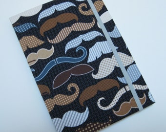 Handmade Journal - Mr. Mustache - Fabric, Textured - Lined Pages - Unique