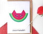Watermeowlon greeting card, funny greeting card, cat card, watermelon card, pun card, cute cat card, funny cat card, funny birthday card