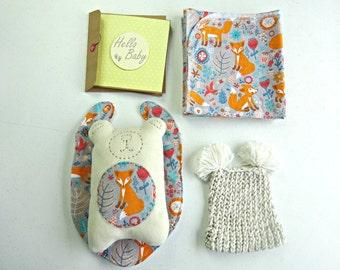 Fox woodland print baby shower gift // baby shower card // new baby gift // teddy bear softie // baby beanie // bib and burp cloth set