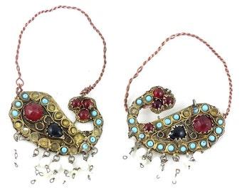 Rare Antique old Uzbek earrings, Temple jewellery. Free shipping wordwide.