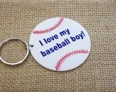 "Baseball Keychain, ""I love my baseball boy"" keychain, sports keychain"