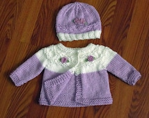 Hand Knit Baby Sweater And Hat Set, Newborn to 3 Months Lavender and White, Baby Girl Sweater, Lavender Roses, Baby Shower Gift