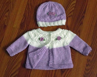 Baby Sweater, Knitted Newborn Sweater And Hat Set, Newborn to 3 Months, Lavender and White, Baby Girl Lavender Sweater, Baby Shower Gift