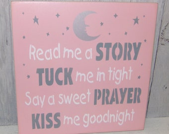 Read Me A Story Tuck Me In Tight Say A Sweet Prayer Kiss Me Goodnight, Pink Grey Nursery Decor, Pink Grey Bedroom, Nursery Wall Art