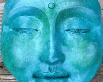 Handmade Tranquil Blue Turquoise Zen Buddha Garden Sculpture, Garden Art Decor