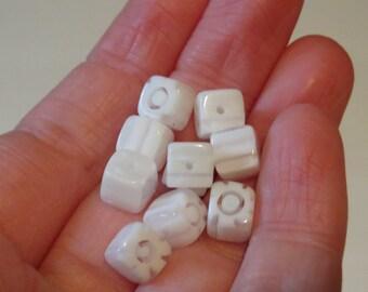 White cube Millefiori beads. White Millefiori cube beads. Clear and white beads. Square beads, square Millefiori beads (4)