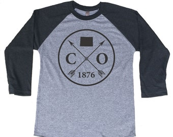 Homeland Tees Colorado Arrow Tri-Blend Raglan Baseball Shirt